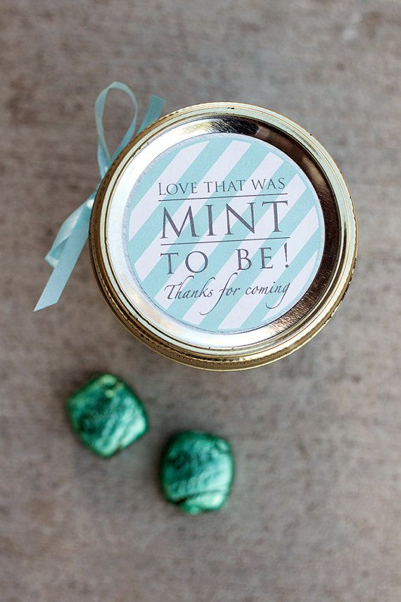 Printable wedding mason jar label instant downloadable PDF | Wedding favor label | Mint gift tag | Bridesmaid gift