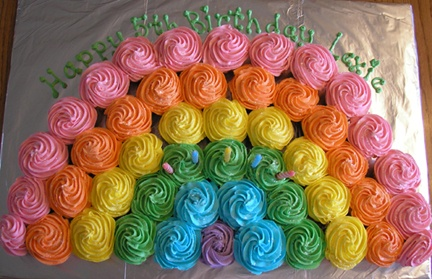 Rainbow Cupcake Cake: 4Th Birthday, Cupcakes Rainbows, 5Th Birthday, Rainbows Cakes, Rainbows Parties, Rainbows Cupcakes, Cups Cakes, Cupcakes Cakes, Birthday Cakes