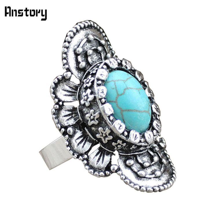 Vintage Look Tibet Antiek Zilver Lichtmetalen Retro Craft Gebogen Bloem Verstelbare Turquoise Rings TR77