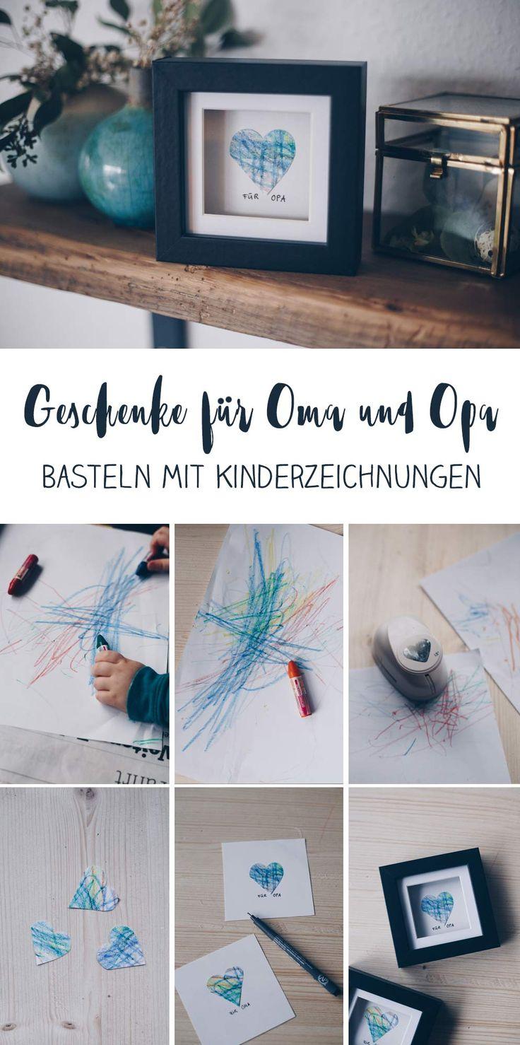 DIY-Geschenkidee mit Kinderzeichnung – Geschenkidee für Oma und Opa   – Kreativfieber DIY und Bastelideen