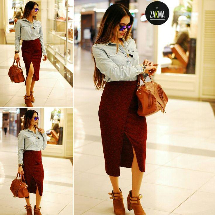 Moda falda  Camisa Jean #soyzakma #mujeresreales #moda #style