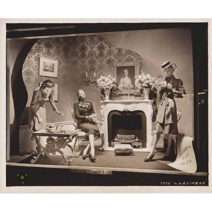 """SHOP?, (1933), Fifth Avenue, New York, """"Come on in and sit around the fire place with a number of colorfull characters"""",  pinned by Ton van der Veer"""
