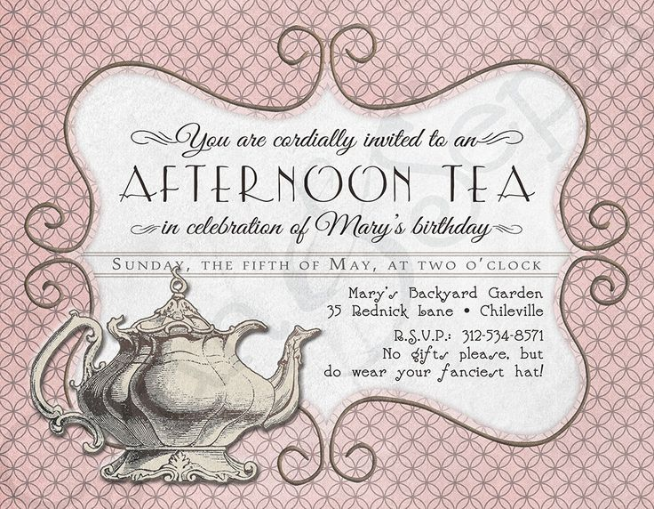 printable tea party birthday invitation 425 x 55 4x6 5x7 antique teapot pink grey gray ivory brown victorian vintage cottage victorian tea