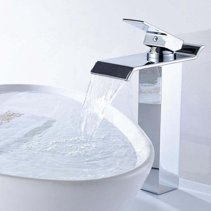New Brass Square Chrome Finish Waterfall Tall Countertop Basin Bathroom Sink Faucet Mixer Tap Single Handle - ICON2 Luxury Designer Fixures  New #Brass #Square #Chrome #Finish #Waterfall #Tall #Countertop #Basin #Bathroom #Sink #Faucet #Mixer #Tap #Single #Handle