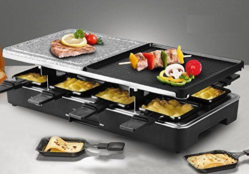 Party Raclette Grill Two Half Top Plates Cast Aluminum Reversible Granite Stone  #Artestia