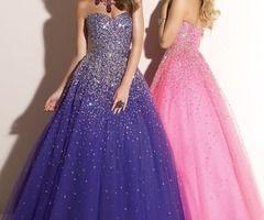 Vestidos de 15 largos color violeta y rosa