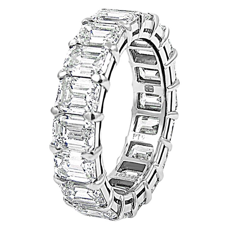Harry Winston Emerald Cut Diamond Platinum Eternity Band Ring