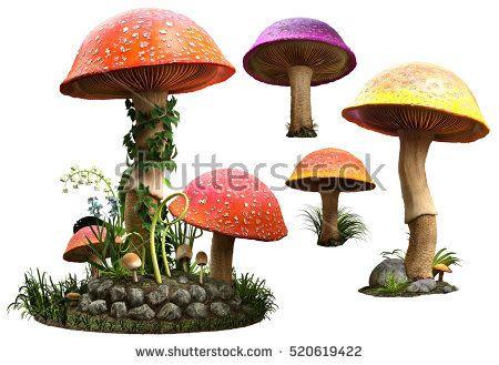 Mushrooms 3D illustration