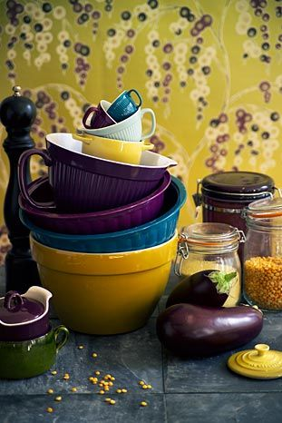 eggplant and maize....love the color combo.  I want this in my kitchen.  love the blue with it.