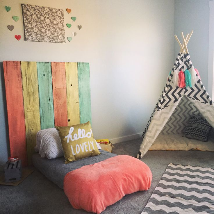 montessori toddler bedroom with a floor bed and teepee obviously in boy colors but i love the headboard and the floor bed - Toddler Bedroom Decorating Ideas