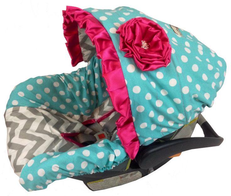 Aqua Dot Car Seat Covers, Infant Car Seat Cover for girls, Infant car seat covers, baby car seat covers, slipcovers by Ritzy Baby by RitzyBabyOriginal on Etsy https://www.etsy.com/listing/170311396/aqua-dot-car-seat-covers-infant-car-seat