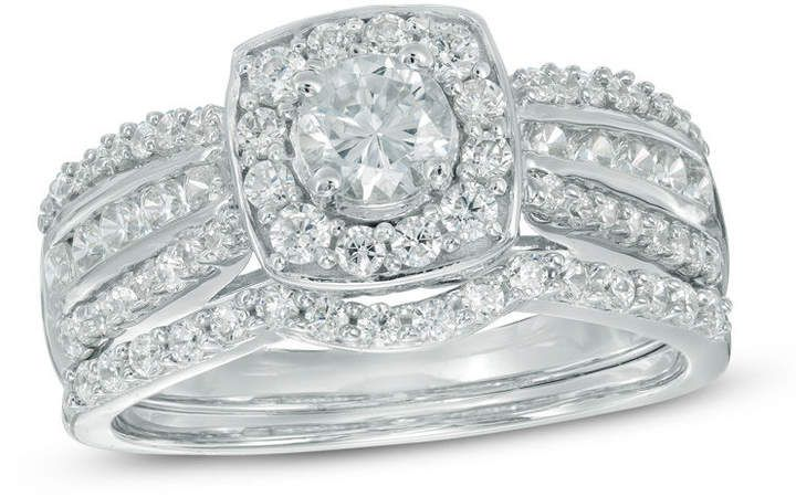 1 1 10 Ct T W Diamond Cushion Frame Multi Row Bridal Set In 10k White Gold Completes Band Lined Diamond Bridal Sets White Gold Bridal Sets