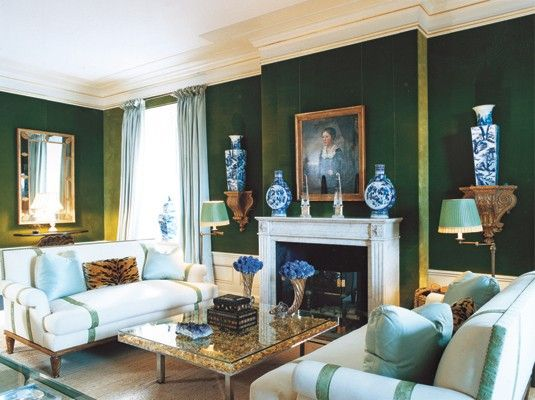 Tory Burch's living room in her Upper East Side apartment. Emerald velvet walls, perfectly placed blue and whites, palest aqua drapes.