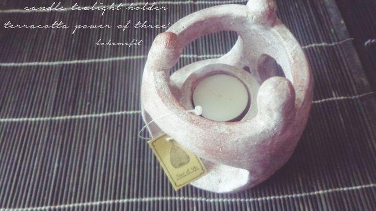 ✧☽ candle tealight holder 'terracotta' power of 3 magic ☾✧ #bohemefit