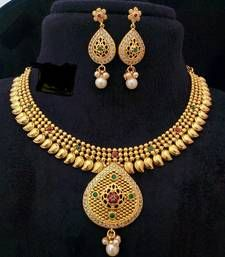 Buy Georgeous gold plated necklace set south-indian-jewellery online at, http://www.mirraw.com/designers/dharani-collections/designs/georgeous-gold-plated-necklace-set-south-indian-jewellery--2