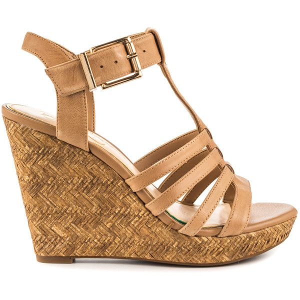 Jessica Simpson Women's Jenaa - Buff Ruby Tumble ($70) ❤ liked on Polyvore featuring shoes, brown, ankle strap shoes, brown shoes, woven wedge shoes, woven shoes and ankle wrap shoes