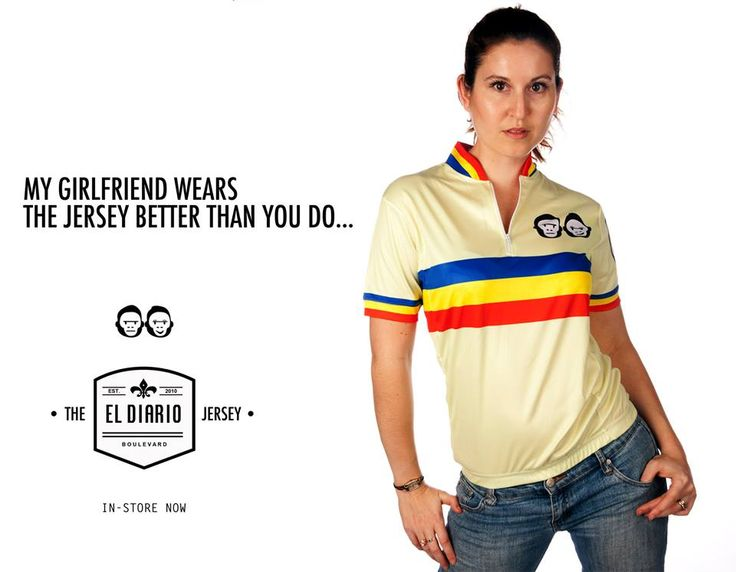The new unisex El Diario Jersey, available in retro yellow and cool blue, check it out in store