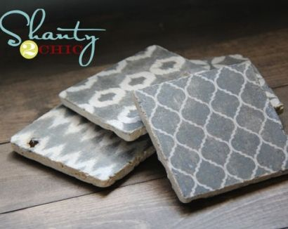 Cute coasters with tutorial and free printable from Shanty 2 Chic!