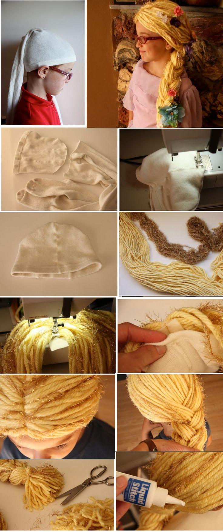 Yünle Rapunzel peruk çalışması