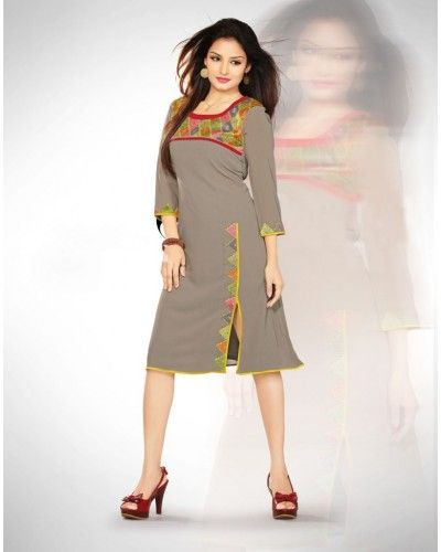 Designer Georgette Grey Kurti Cum Dress