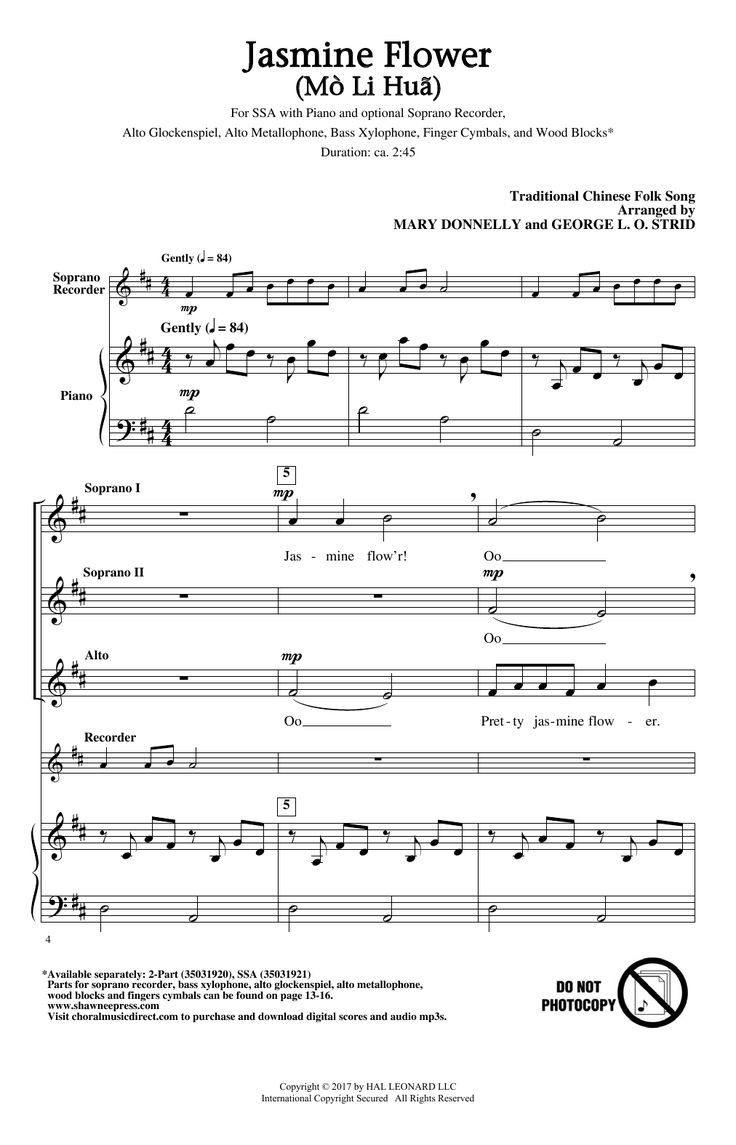 New piano sheet music on Modern Score : Mary Donnelly: Jasmine Flower (Mo Li Hua) - Partition SSA - 2,60€  Partition SSA