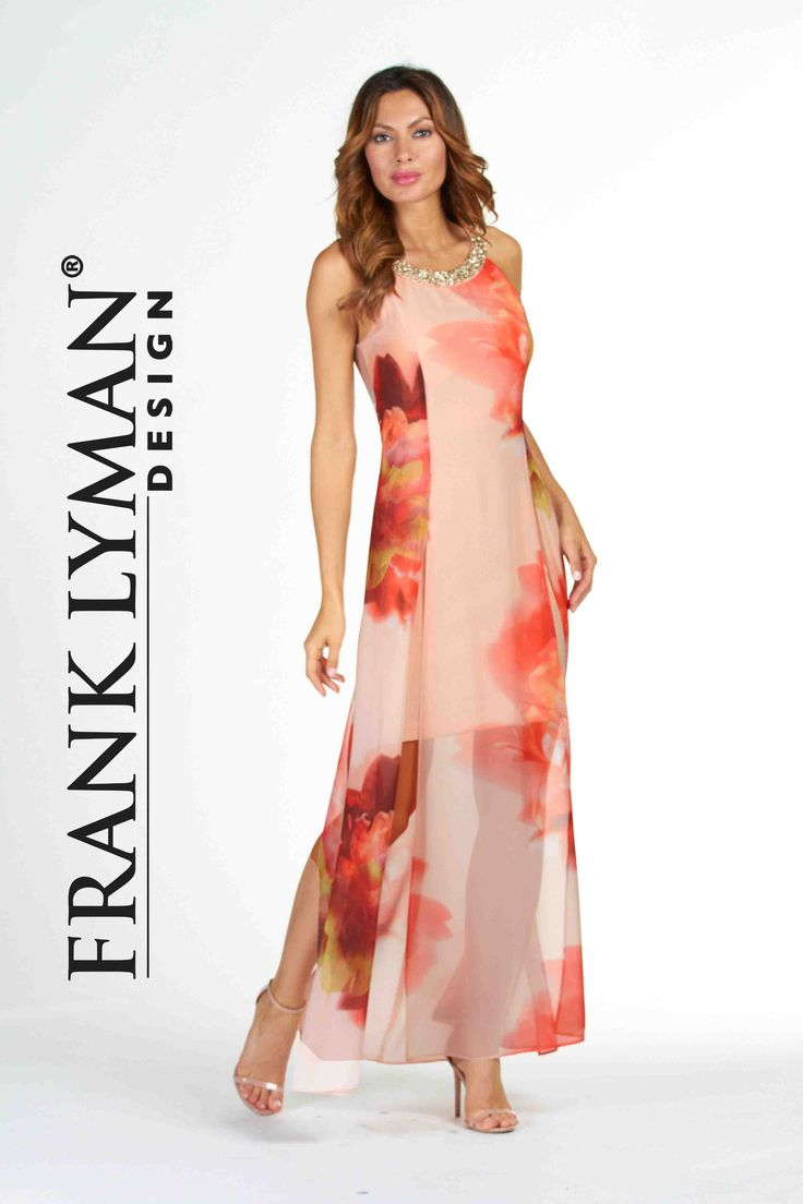 Lyman by Frank Lyman Design 2017. Chic, cocktail dress with stylish printed chiffon overlay. Proudly Made  In Canada