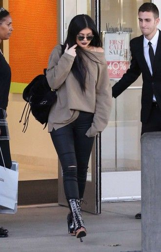 sweater oversized sweater kylie jenner fall outfits booties boots shoes