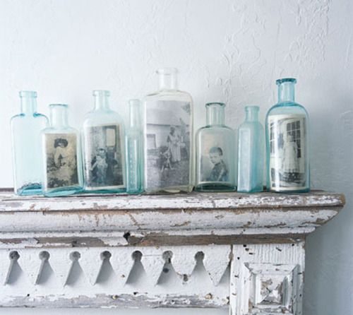 What a fablous way to display old photos & a vintage bottle collection at the same time.: Photo Display, Vintage Bottle, Old Pictures, Glasses Bottle, Old Photo, Old Bottle, Vintage Photo, Pictures Frames, Display Photo