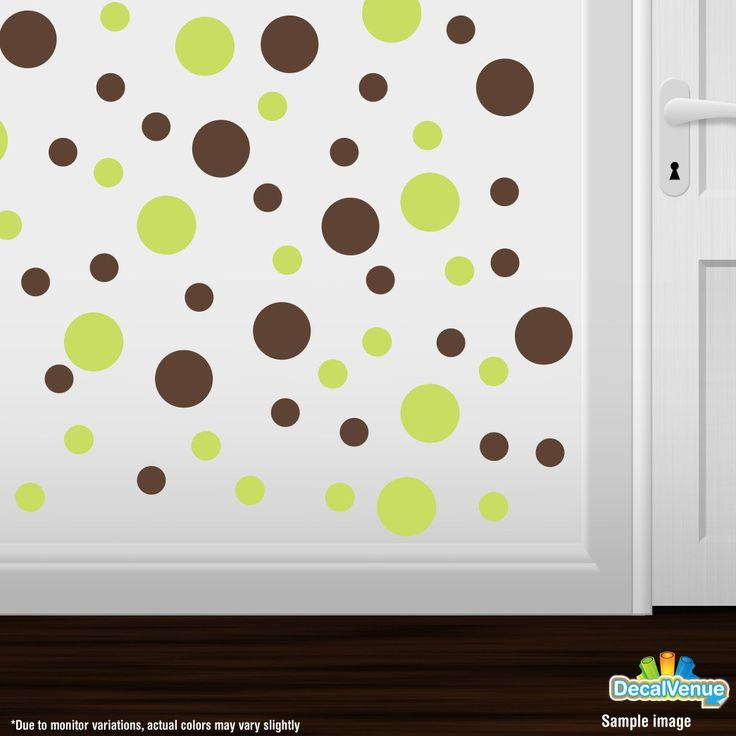 Chartreuse / Chocolate Brown Polka Dot Circles Wall Decals #decals #decalvenue #stickers