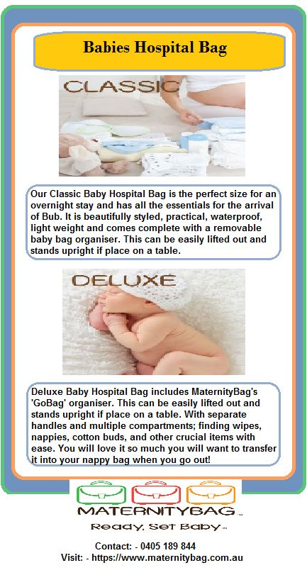 Baby Hospital Bag's are the perfect size for all Bubs essentials for his/her stay. It is beautifully styled, practical, light weight and comes complete with a removable baby bag organiser. Our Baby Go bag is inclusive in all our Baby #HospitalBags! These can be easily lifted out and stands upright if place on a table. With separate handles and multiple compartments; finding wipes, nappies, milton tablets, and other crucial items with ease.
