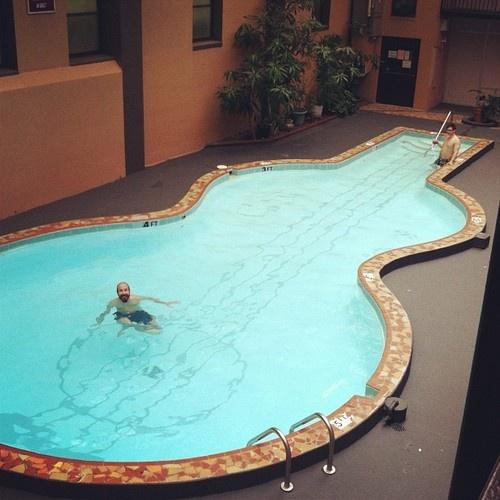 Guitar Shaped Pool Swimming Pools Pool Spa Pool