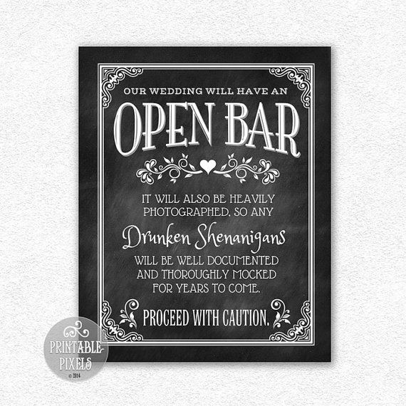 Open bar wedding sign chalkboard printable funny bar sign digital opb1c the o39jays for Wedding signs templates