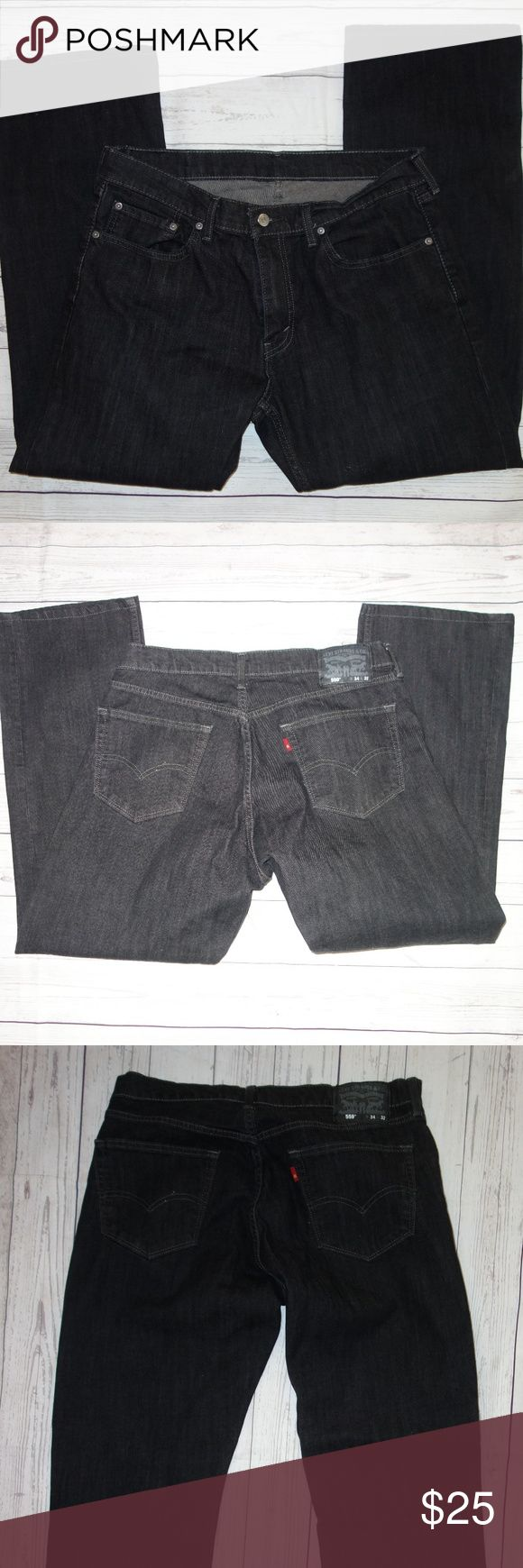 Levis 559 Jeans Men 34 32 Classic Straight Leg Levis 559 Jeans Men 34 32 Classic Straight Leg Graphite Gray Dark Preowned in great condition Looks black but is actually a very dark graphite gray Classic 5 pocket styling  Button and zip fly waist is 34 Inseam is 32 No rips, tears or stains Look like new I have other items like this listed Thank you for looking! Levi's Jeans Straight