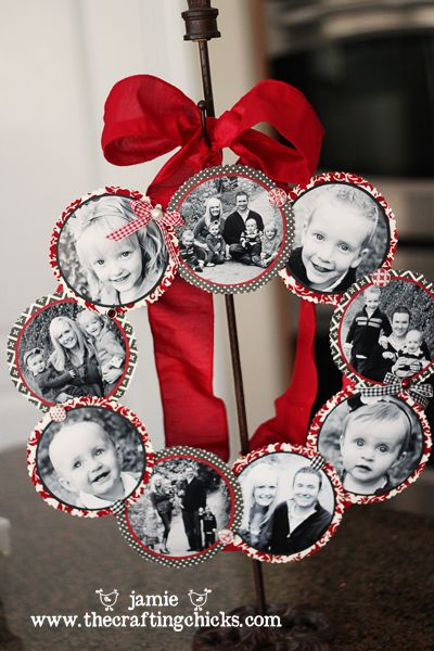 FAMILY PHOTO WREATH...was one of the crafts on display during our TV debuts earlier this week.  We had such a fun week sharing our crafts on TV for the first time! If you were curious about how to make this wreath, wait no longer-I am excited to share my tutorial with you today! (Make one for Christmas or Valentine's Day!!!)