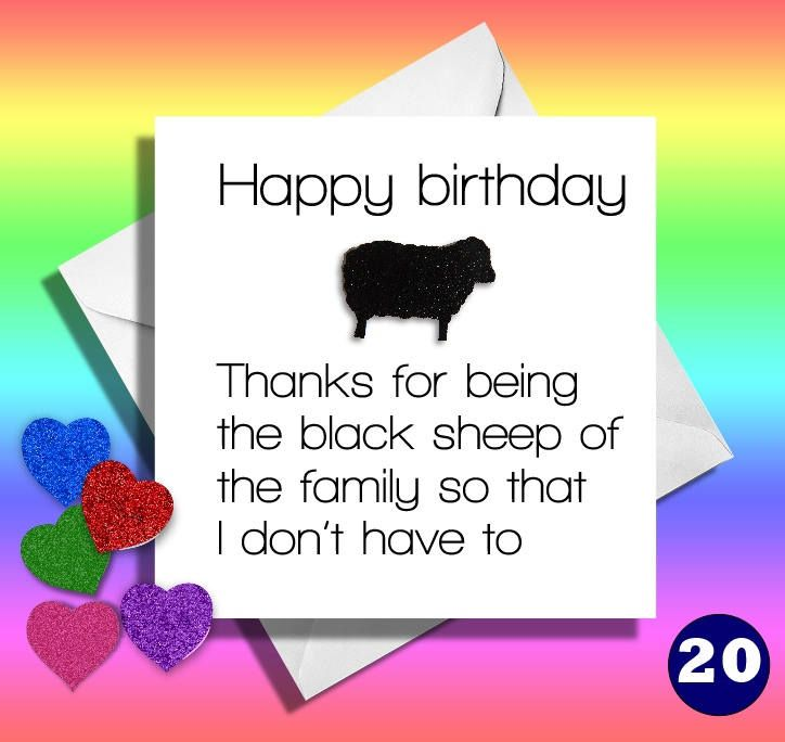 Black Sheep Of The Familyreally Funny Greeting CardsBrotherSistercousin Unclefunny Cards Birthday Cardsfunnyhilarious By LOLcardshop