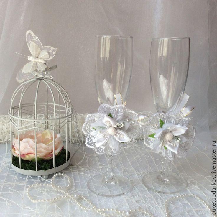 """Купить Украшение на свадебные бокалы """" Белые розы """" - белый, бокалы для свадьбы"""