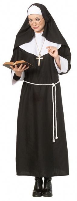 Deluxe Holy Nun Halloween Costume - Halloween doesn't get much easier than wearing this Nun costume. This adult deluxe Nun Halloween costume is instantly recognizable while easy and fun to wear.  The Nun Halloween costume comes with a long black cotton like nun dress that Velcro's behind the neck. The dress has thick white cuffs and a oversized white raised collar. The dress has loops for the belt. The costume comes with a white rope belt. To finish the look is a long black nun habit…