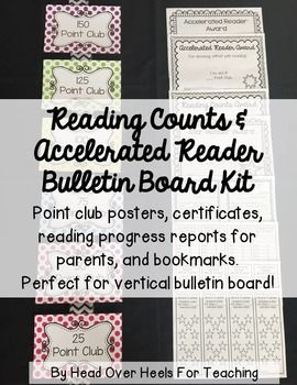 Get your students excited about reading with this Reading Counts and Accelerated Reader Kit! Posters, certificates, progress reports, and bookmarks! This colorful polka dot design will brighten any room! Perfect for vertical bulletin board for the class with limited space (hang on ribbon or use book rings to attach together).