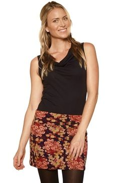 Stretch Mini Skirt Dark Floral