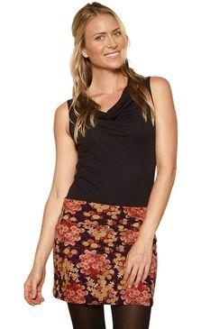 Stretch Mini Skirt Dark Floral