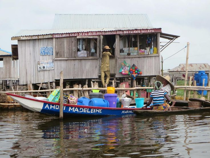 A small overwater shop in Ganvie village on Lake Nokoue near Cotonou, Benin.