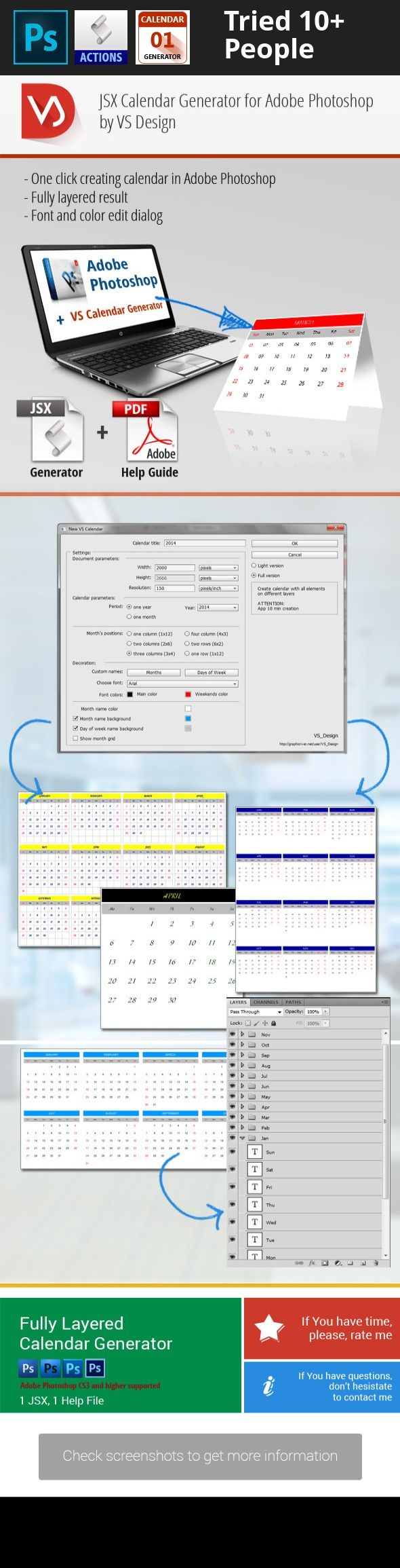 addons, business, calendar, calendar 2014, calendar 2015, calendar 2016, calendar generator, Custom Calendar, dates generator, decor, javascript, JSX, object, office calendar, photo fx, photoshop jsx, photoshop utilities, script, weeks, year Simple way to generate any size calendar in Adobe Photoshop document.   	Do You need layered calendar for some year or month? Do You haven't time to type it Yourself? All you need to do is run VS Calendar Generator script. A calendar can now be create...