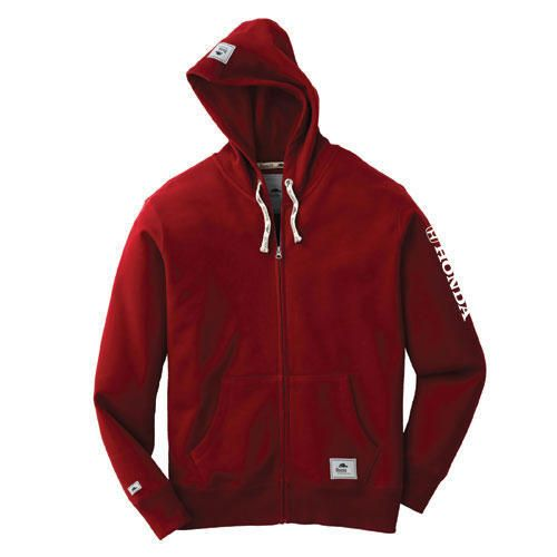 Unisex Roots® Brand Full Zip Hoody. 80% cotton, 20% polyester washed fleece. Lining is 100% cotton jersey knit hood. Honda logo heat transferred in white horizontally on left sleeve.