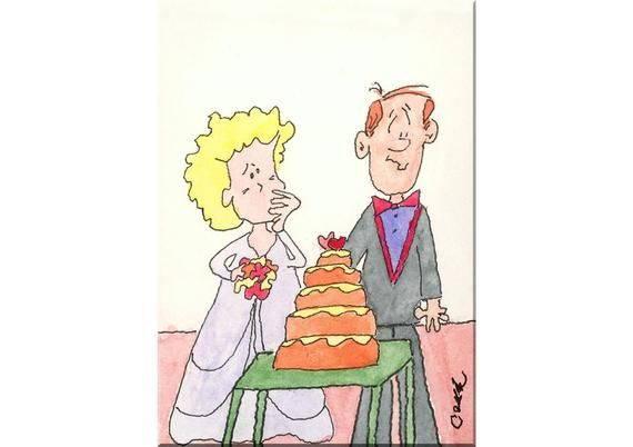 Funny Wedding Picture Painting Original Watercolor Cartoon Happy