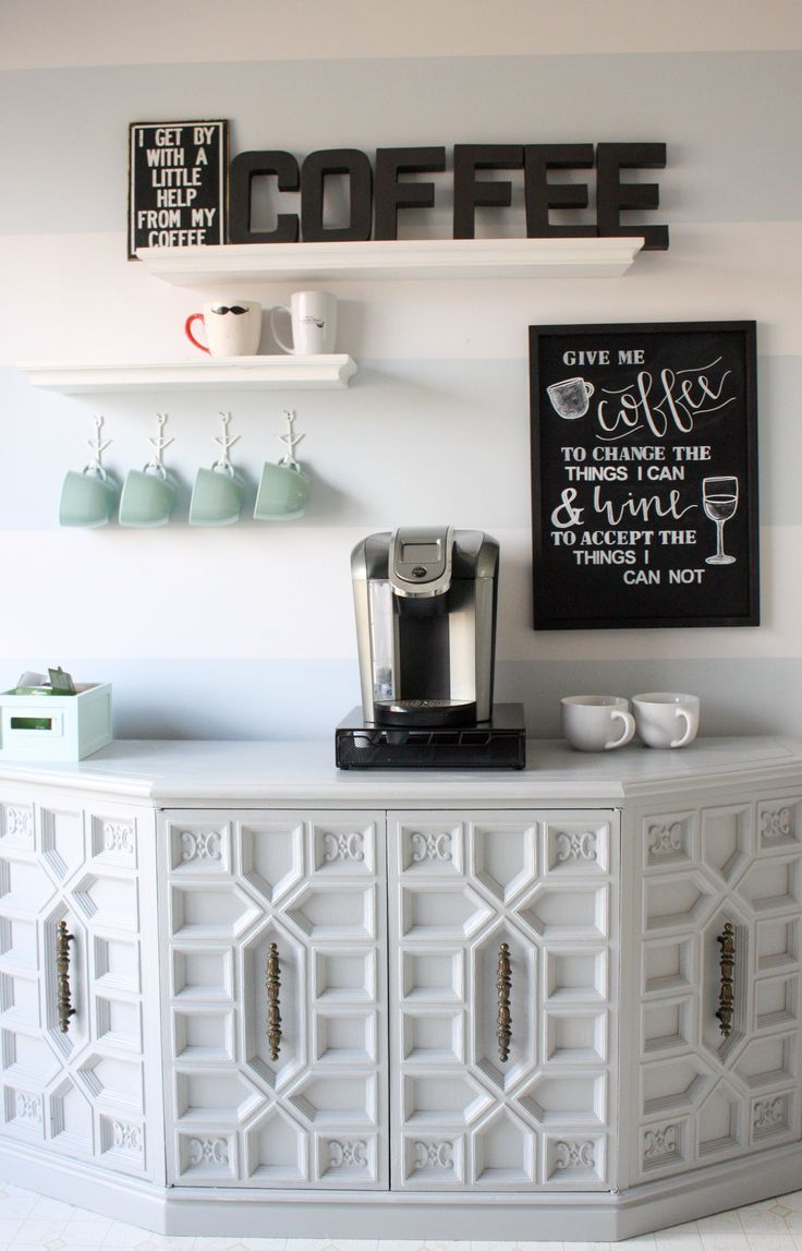 Updating the Coffee Bar: @lianaterryblog gives her coffee bar a new look. Check it out and be inspired! http://www.rustoleum.com/product-catalog/consumer-brands/stops-rust/metallic