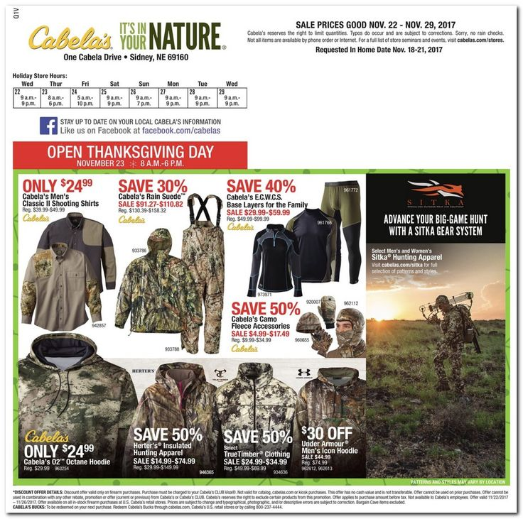 Cabela's Black Friday 2017 Ads and Deals Check out Cabelas Black Friday ad 2017 to find out what's going on sale this year. Cabelas offers one of the largest selections of guns, ammo, hunting... #cabelas #cabelasblackfriday #cabelasblackfriday2017 #blackfriday #blackfriday2017