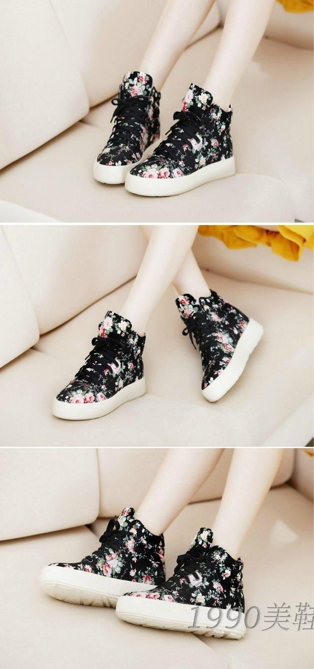 Free shipping new spring shoes vivi floral canvas shoes Korean version of Japanese Harajuku platform shoes platform shoes tide - Taobao