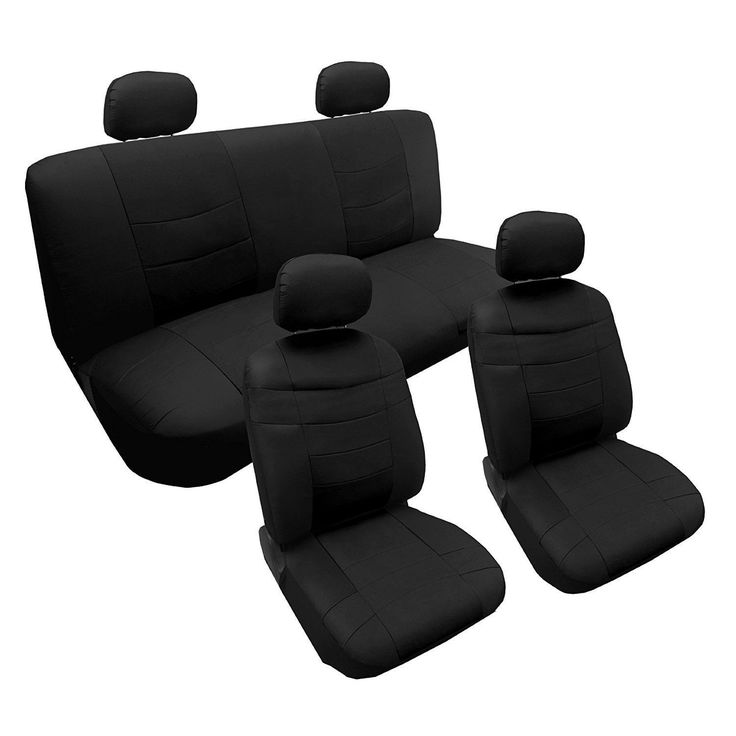 Unique PU Faux Leather Seat Cover Set Solid Black 10pc Set - Toyota Corolla (Color)