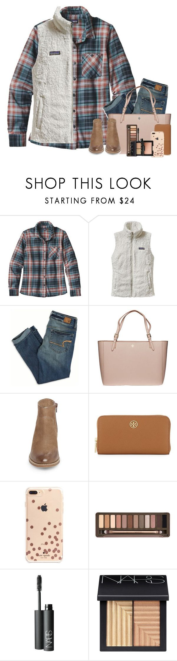 """""""Snow Day!!!!! ❄️"""" by smiles-iv ❤ liked on Polyvore featuring Patagonia, American Eagle Outfitters, Tory Burch, Steve Madden, Kate Spade, Urban Decay and NARS Cosmetics"""