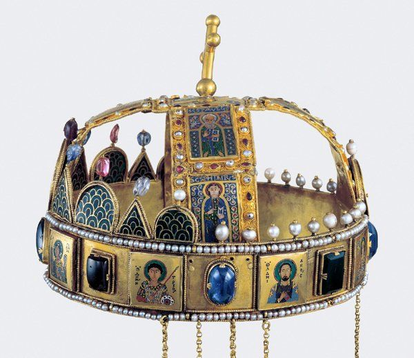 The Holy Crown of Hungary, (side view) presumed made in Constantinople in the 1070s, was the coronation crown used by the Kingdom of Hungary for most of its existence; kings have been crowned with it since the twelfth century. The Crown was bound to the Lands of the Crown of Saint Stephen. No king of Hungary was regarded as having been truly legitimate without being crowned with it. In the history of Hungary, more than fifty kings were crowned with it, up to the last, Charles IV, in 1916.